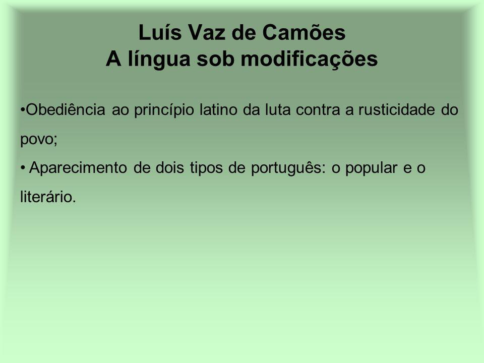 Luís Vaz de Camões A língua sob modificações