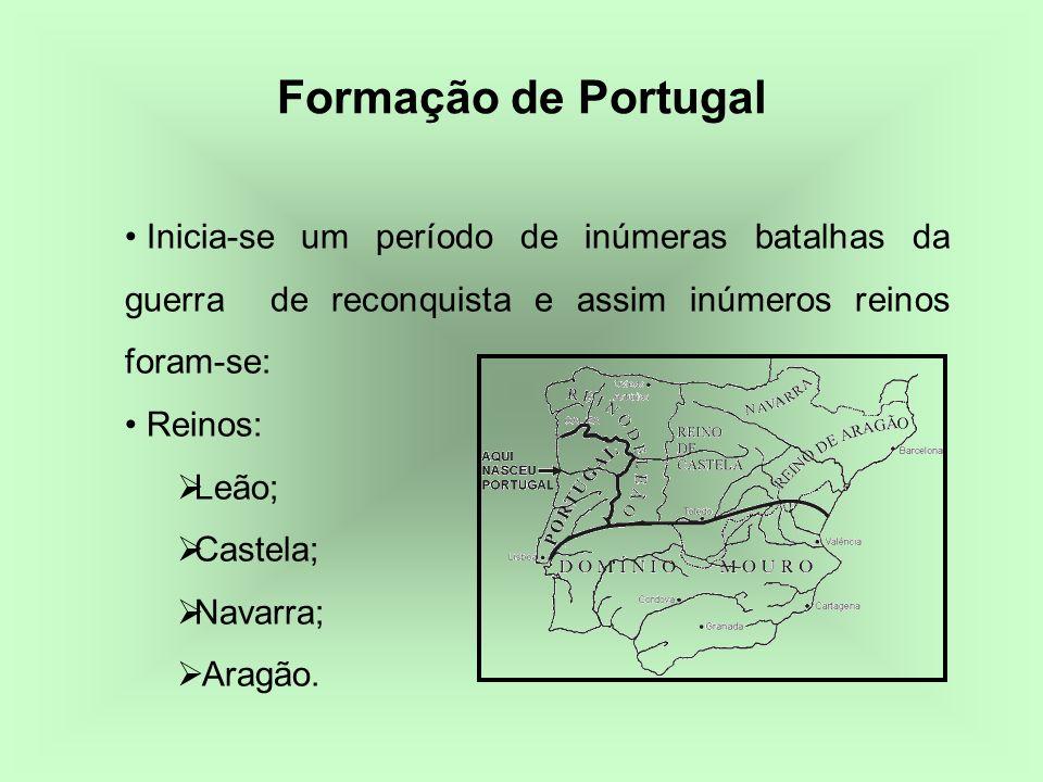 Formação de Portugal Inicia-se um período de inúmeras batalhas da guerra de reconquista e assim inúmeros reinos foram-se: