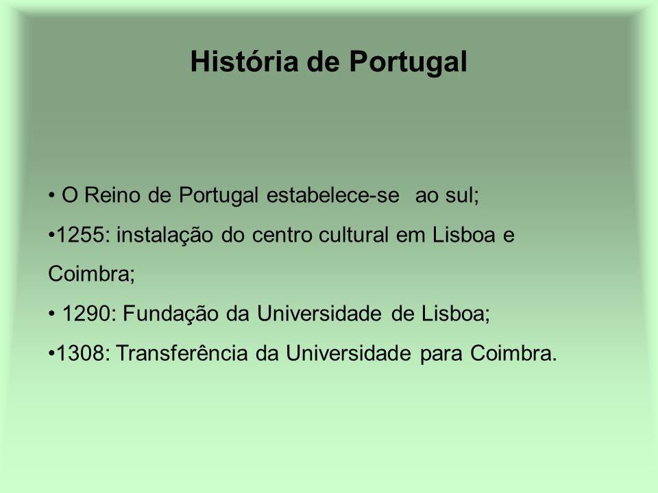 História de Portugal O Reino de Portugal estabelece-se ao sul;