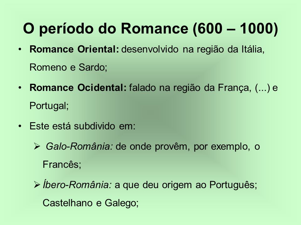 O período do Romance (600 – 1000)