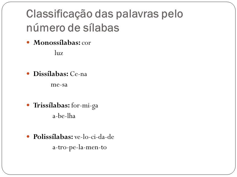 Classificação das palavras pelo número de sílabas