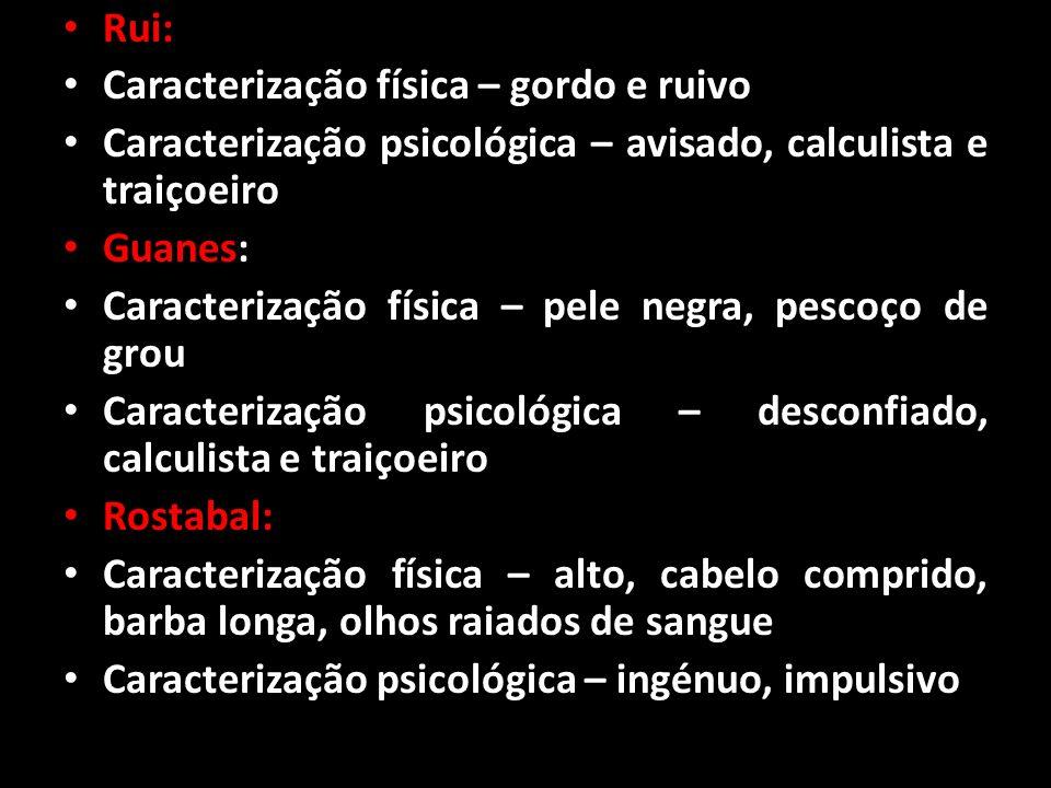 Rui: Caracterização física – gordo e ruivo. Caracterização psicológica – avisado, calculista e traiçoeiro.