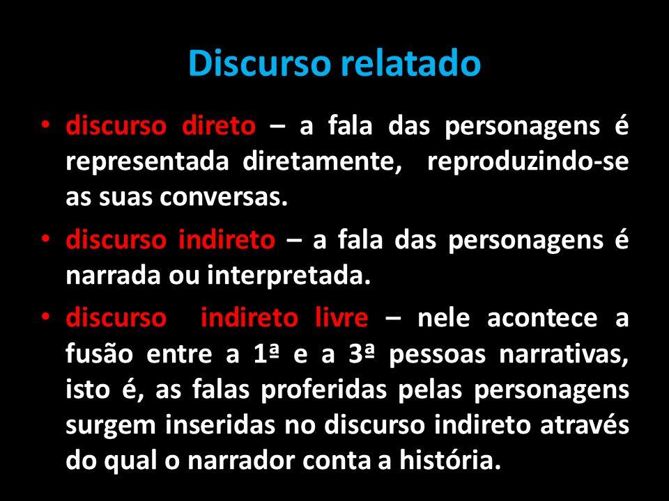 Discurso relatado discurso direto – a fala das personagens é representada diretamente, reproduzindo-se as suas conversas.