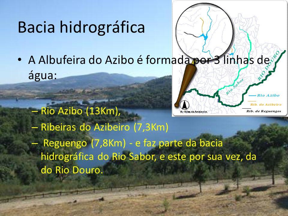Bacia hidrográfica A Albufeira do Azibo é formada por 3 linhas de água: Rio Azibo (13Km), Ribeiras do Azibeiro (7,3Km)