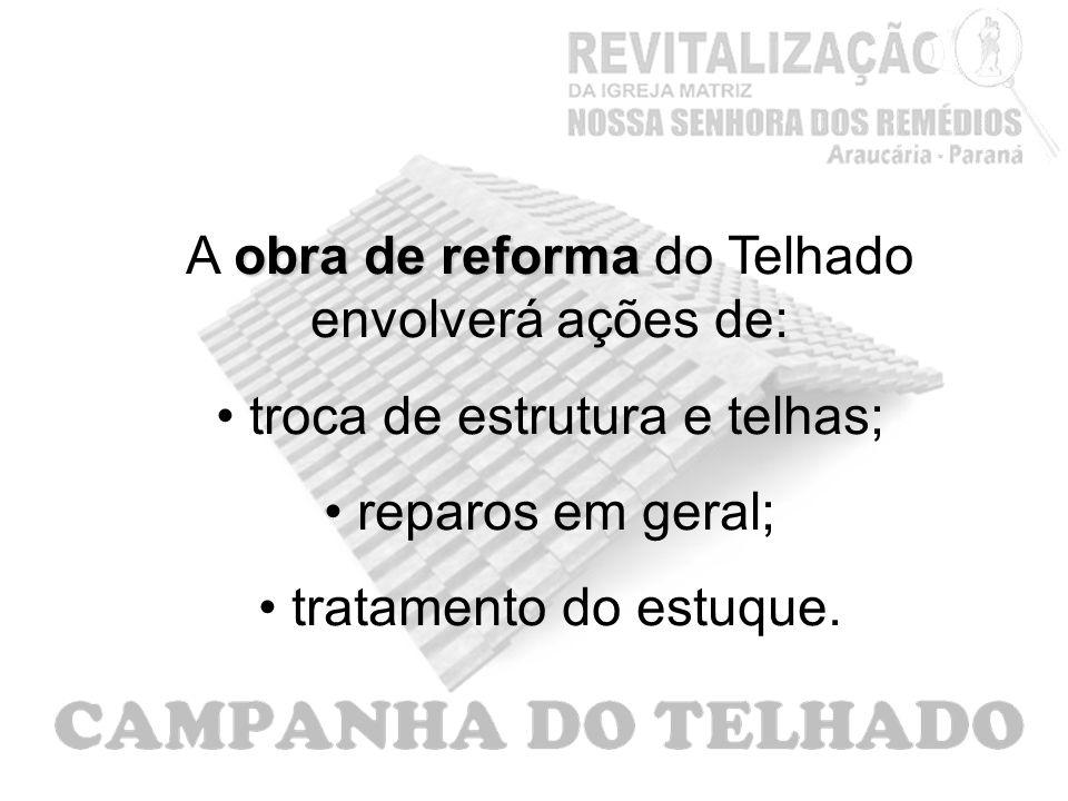 A obra de reforma do Telhado envolverá ações de: