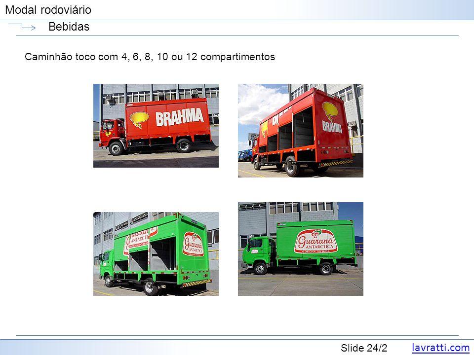 Bebidas Caminhão toco com 4, 6, 8, 10 ou 12 compartimentos
