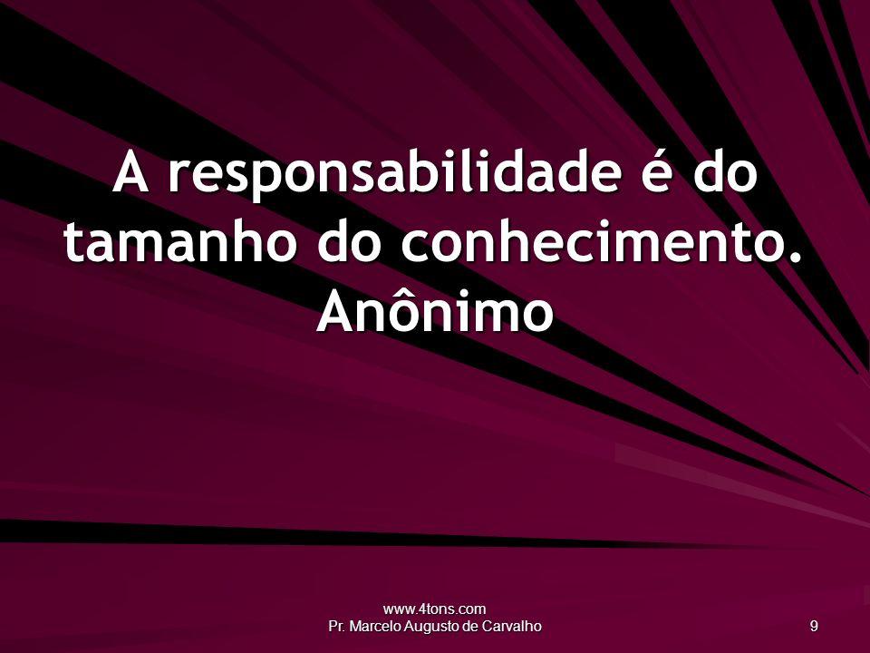 A responsabilidade é do tamanho do conhecimento. Anônimo