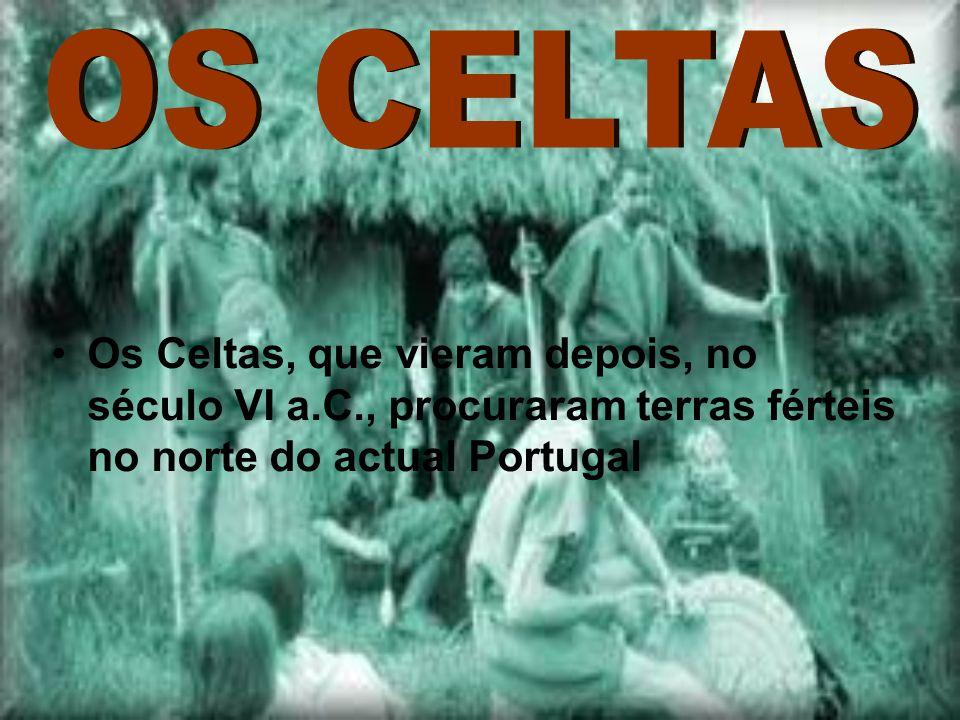 OS CELTAS Os Celtas, que vieram depois, no século VI a.C., procuraram terras férteis no norte do actual Portugal.