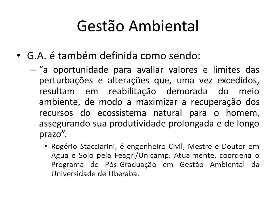 Gestão Ambiental G.A. é também definida como sendo: