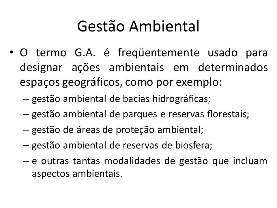 Gestão Ambiental O termo G.A. é freqüentemente usado para designar ações ambientais em determinados espaços geográficos, como por exemplo: