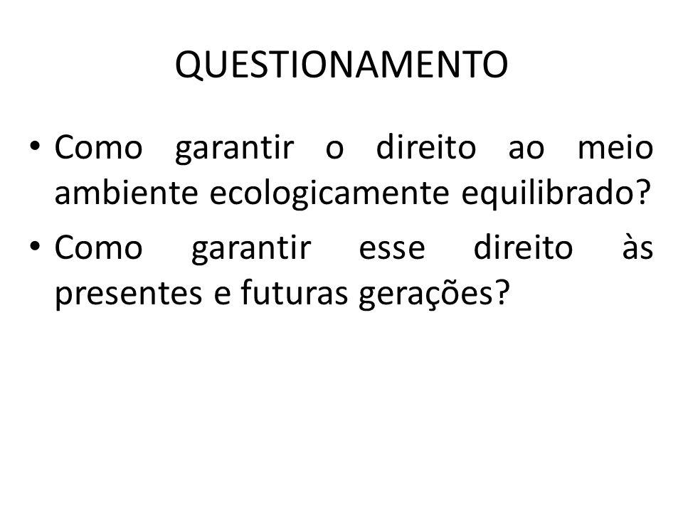 QUESTIONAMENTO Como garantir o direito ao meio ambiente ecologicamente equilibrado.