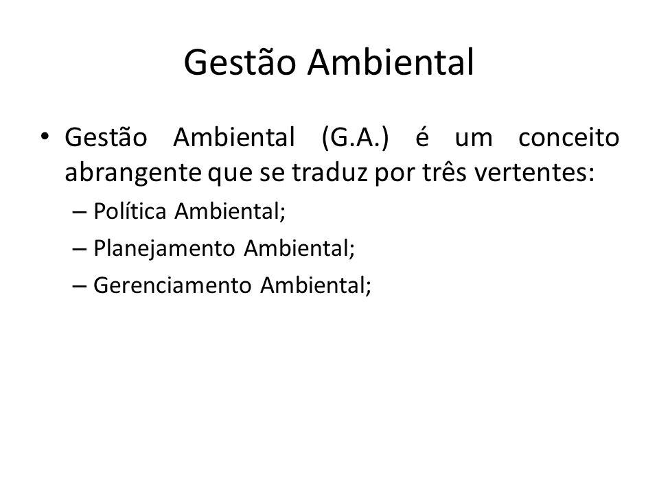 Gestão Ambiental Gestão Ambiental (G.A.) é um conceito abrangente que se traduz por três vertentes: