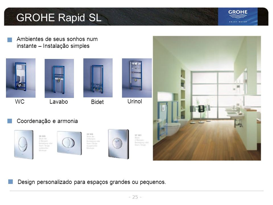 GROHE Rapid SL Ambientes de seus sonhos num instante – Instalação simples. WC. Lavabo. Bidet. Urinol.