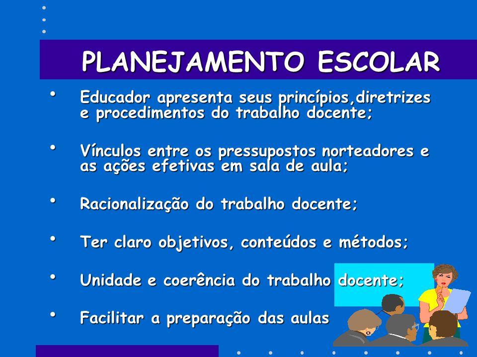 PLANEJAMENTO ESCOLAR Educador apresenta seus princípios,diretrizes e procedimentos do trabalho docente;