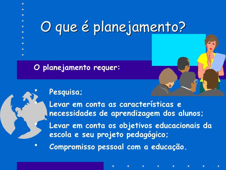 O que é planejamento O planejamento requer: Pesquisa;