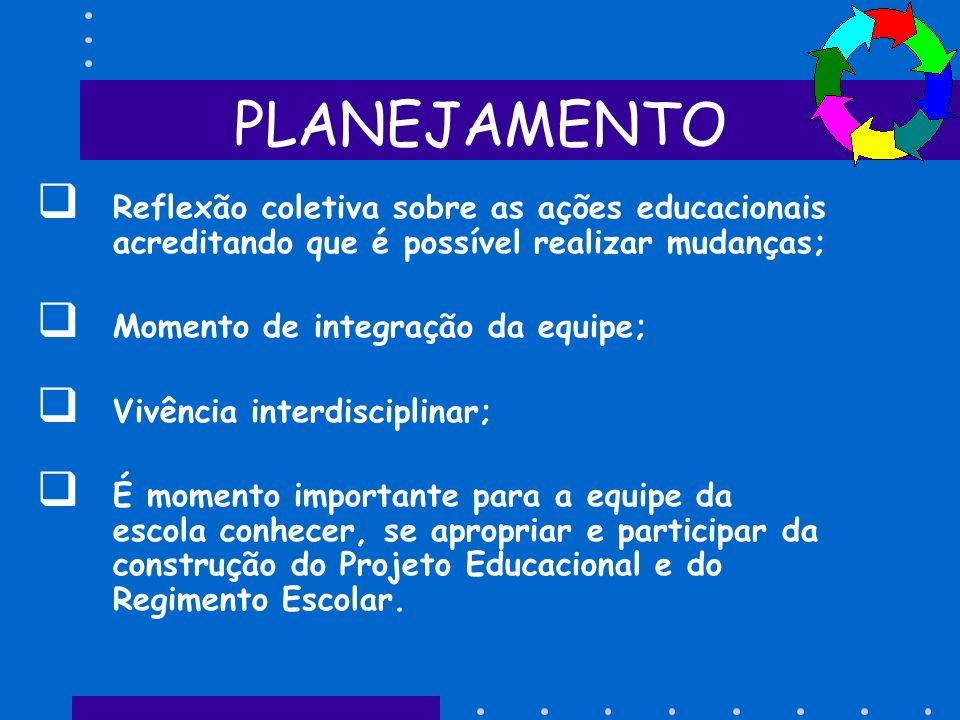 PLANEJAMENTO Reflexão coletiva sobre as ações educacionais acreditando que é possível realizar mudanças;