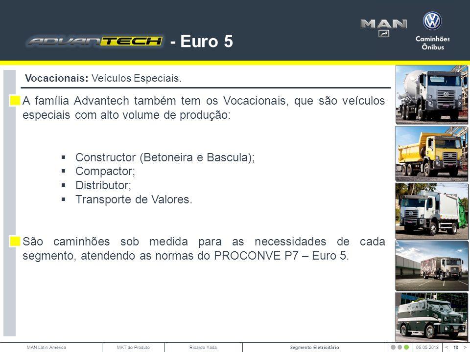 - Euro 5 Vocacionais: Veículos Especiais. A família Advantech também tem os Vocacionais, que são veículos especiais com alto volume de produção: