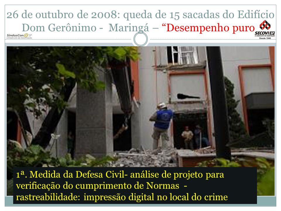 26 de outubro de 2008: queda de 15 sacadas do Edifício Dom Gerônimo - Maringá – Desempenho puro