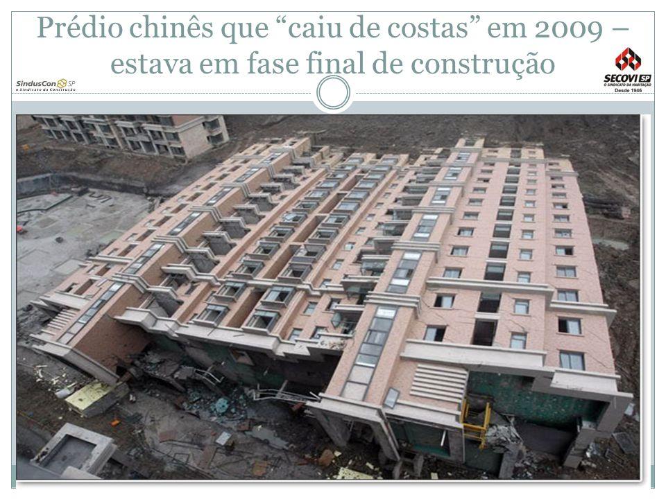 Prédio chinês que caiu de costas em 2009 – estava em fase final de construção