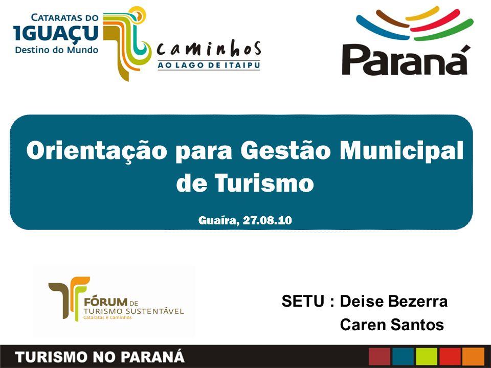 Orientação para Gestão Municipal de Turismo