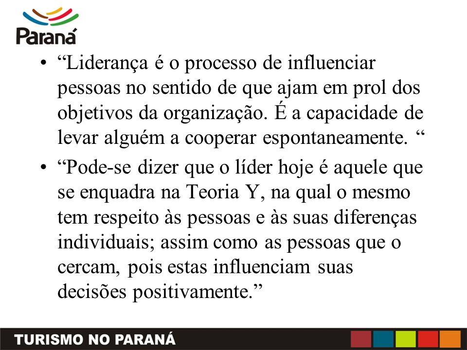 Liderança é o processo de influenciar pessoas no sentido de que ajam em prol dos objetivos da organização. É a capacidade de levar alguém a cooperar espontaneamente.