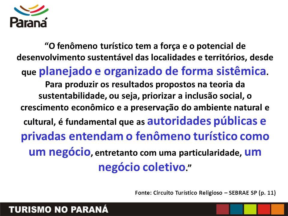 O fenômeno turístico tem a força e o potencial de desenvolvimento sustentável das localidades e territórios, desde que planejado e organizado de forma sistêmica.