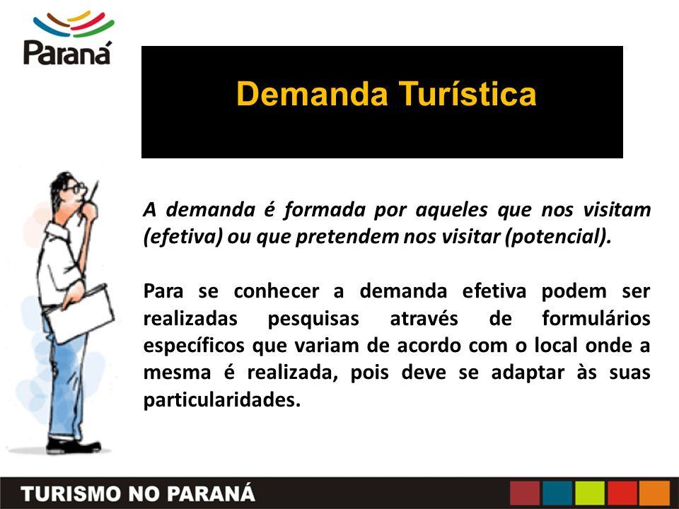Demanda Turística A demanda é formada por aqueles que nos visitam (efetiva) ou que pretendem nos visitar (potencial).
