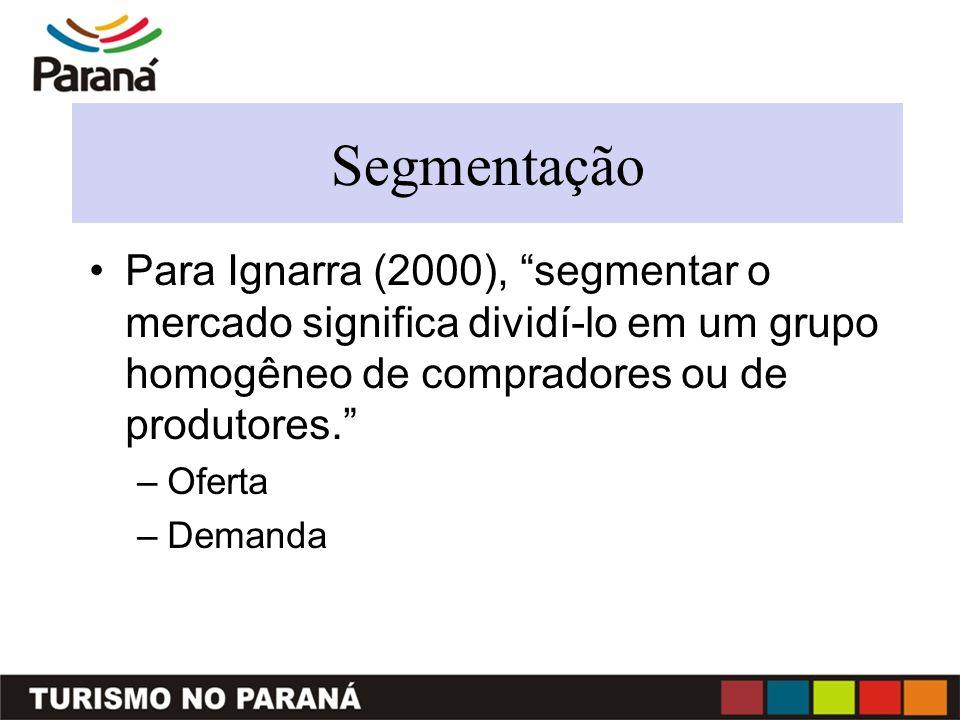Segmentação Para Ignarra (2000), segmentar o mercado significa dividí-lo em um grupo homogêneo de compradores ou de produtores.