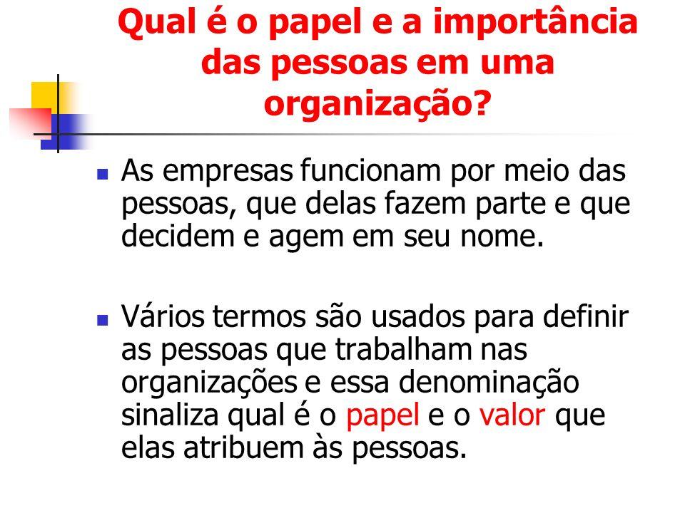 Qual é o papel e a importância das pessoas em uma organização