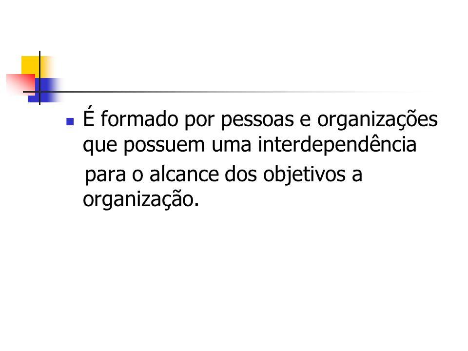 É formado por pessoas e organizações que possuem uma interdependência