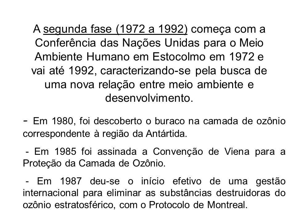 A segunda fase (1972 a 1992) começa com a Conferência das Nações Unidas para o Meio Ambiente Humano em Estocolmo em 1972 e vai até 1992, caracterizando-se pela busca de uma nova relação entre meio ambiente e desenvolvimento.