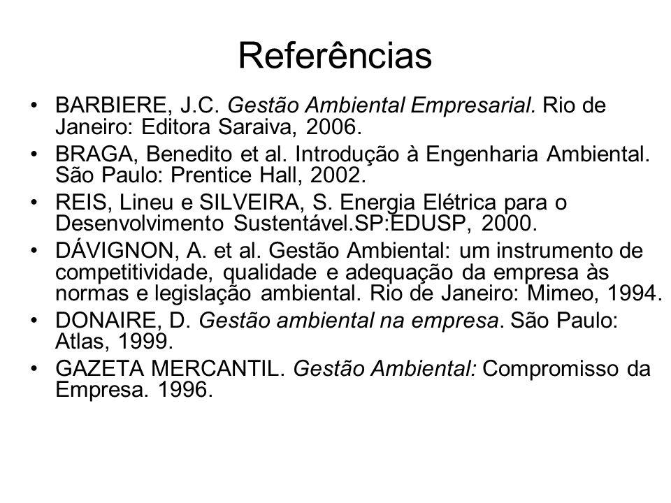 Referências BARBIERE, J.C. Gestão Ambiental Empresarial. Rio de Janeiro: Editora Saraiva, 2006.