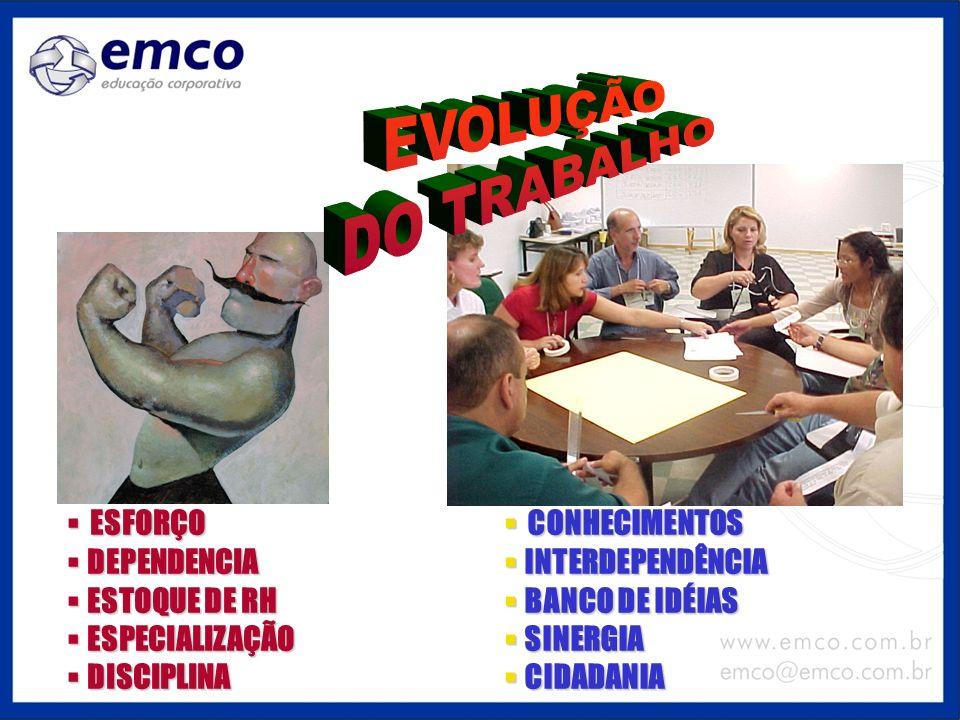 EVOLUÇÃO DO TRABALHO ESFORÇO DEPENDENCIA ESTOQUE DE RH ESPECIALIZAÇÃO