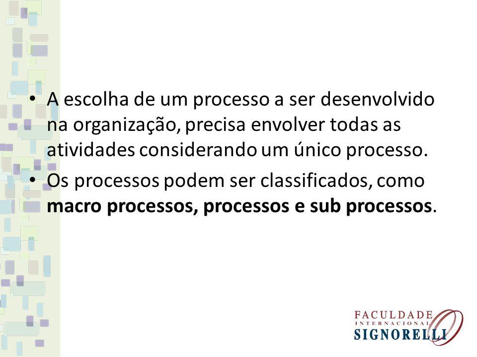 A escolha de um processo a ser desenvolvido na organização, precisa envolver todas as atividades considerando um único processo.