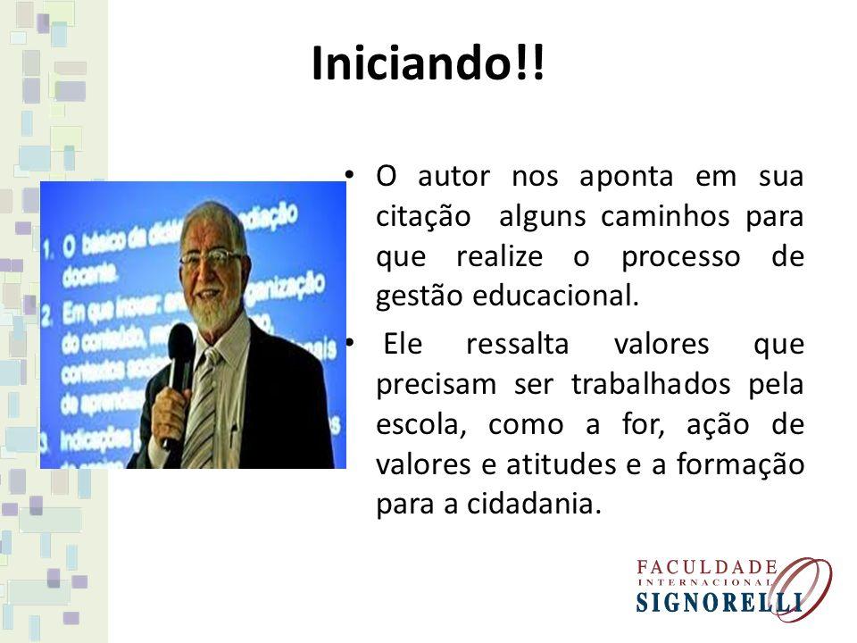 Iniciando!! O autor nos aponta em sua citação alguns caminhos para que realize o processo de gestão educacional.