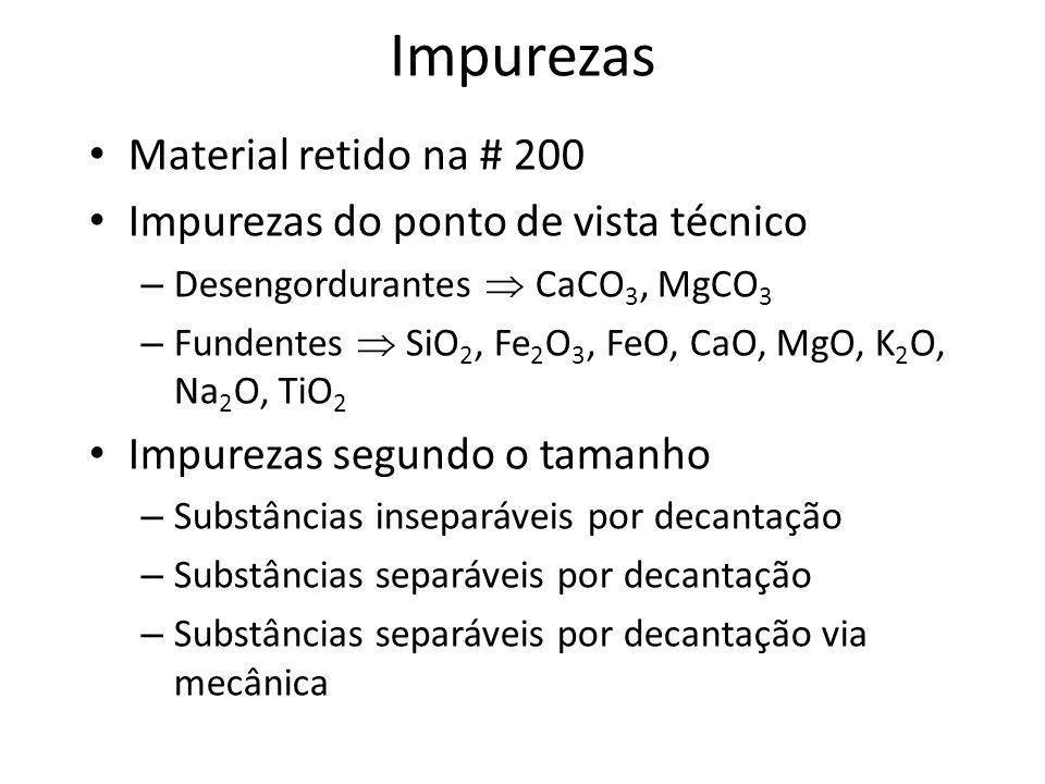 Impurezas Material retido na # 200 Impurezas do ponto de vista técnico
