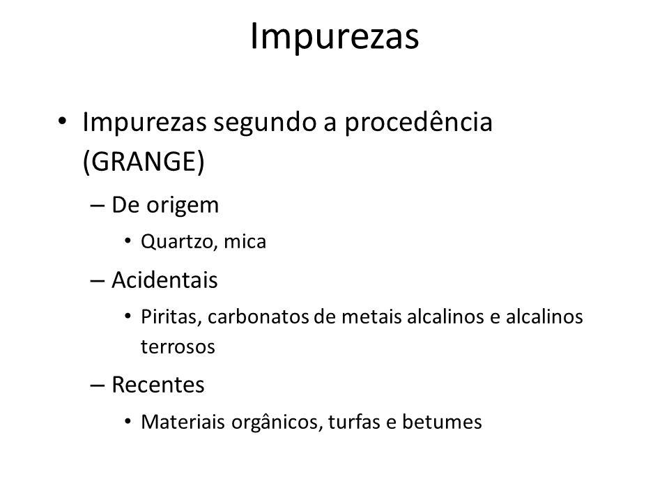 Impurezas Impurezas segundo a procedência (GRANGE) De origem