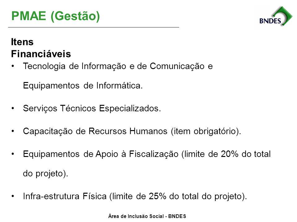 PMAE (Gestão) Itens Financiáveis