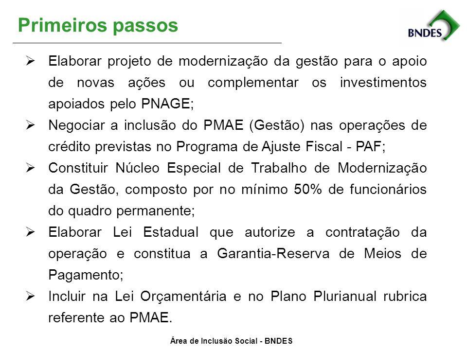 Primeiros passos Elaborar projeto de modernização da gestão para o apoio de novas ações ou complementar os investimentos apoiados pelo PNAGE;