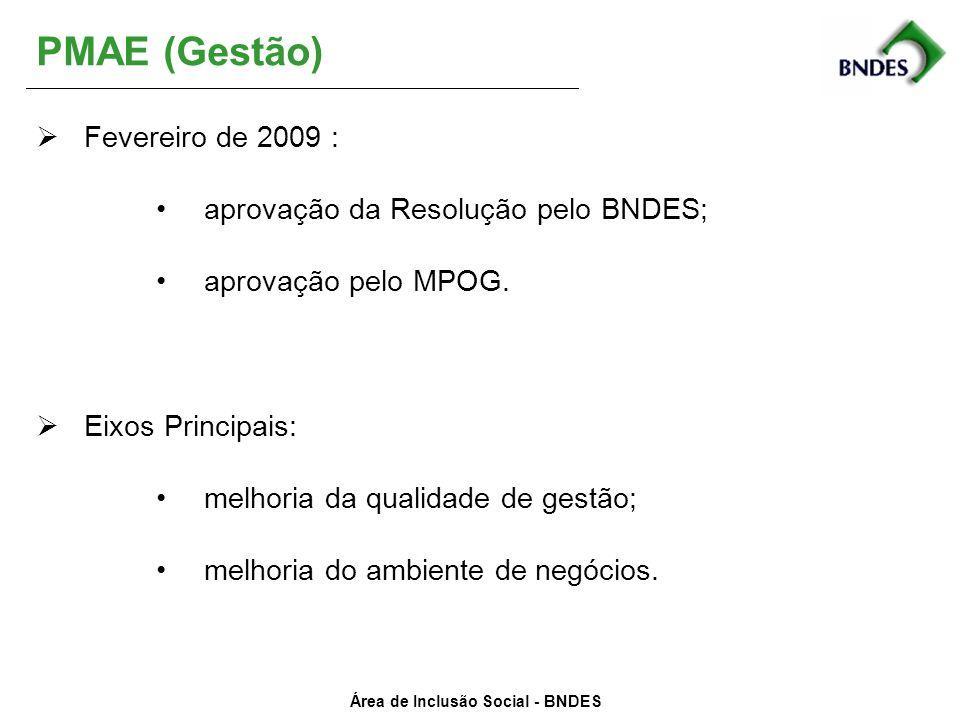 PMAE (Gestão) Fevereiro de 2009 : aprovação da Resolução pelo BNDES;