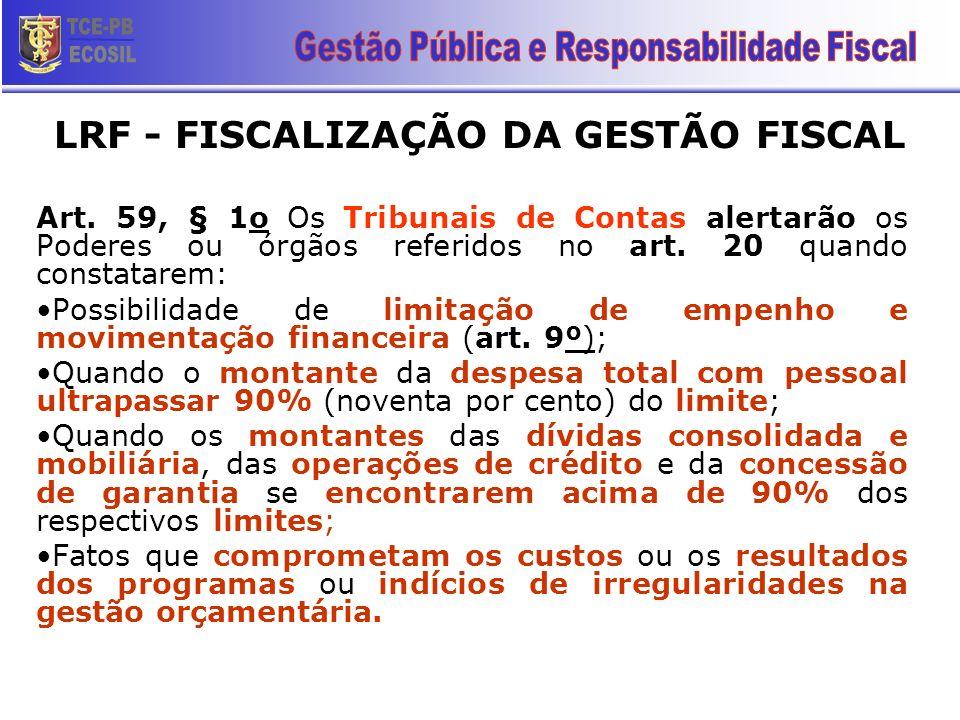 LRF - FISCALIZAÇÃO DA GESTÃO FISCAL