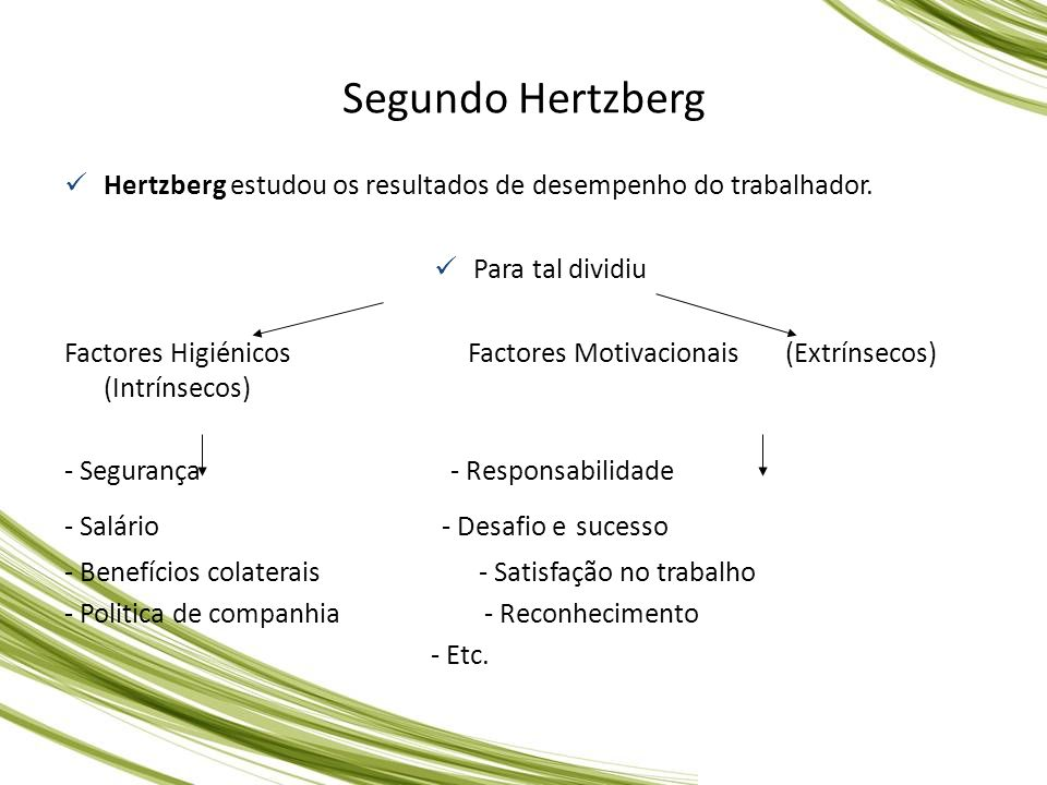Segundo Hertzberg Hertzberg estudou os resultados de desempenho do trabalhador. Para tal dividiu.