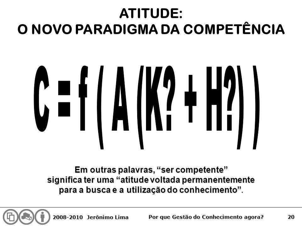 C = f ( A (K + H ) ) ATITUDE: O NOVO PARADIGMA DA COMPETÊNCIA