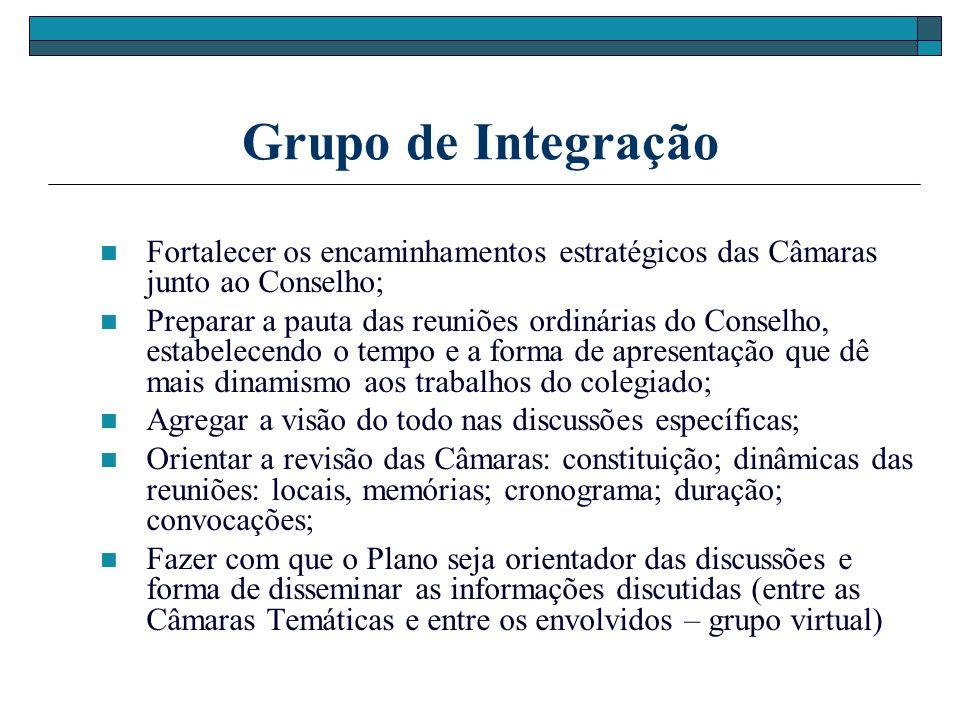 Grupo de Integração Fortalecer os encaminhamentos estratégicos das Câmaras junto ao Conselho;