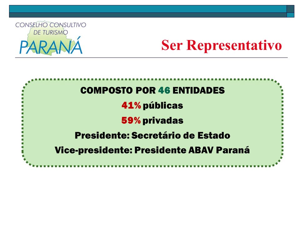 Ser Representativo COMPOSTO POR 46 ENTIDADES 41% públicas 59% privadas