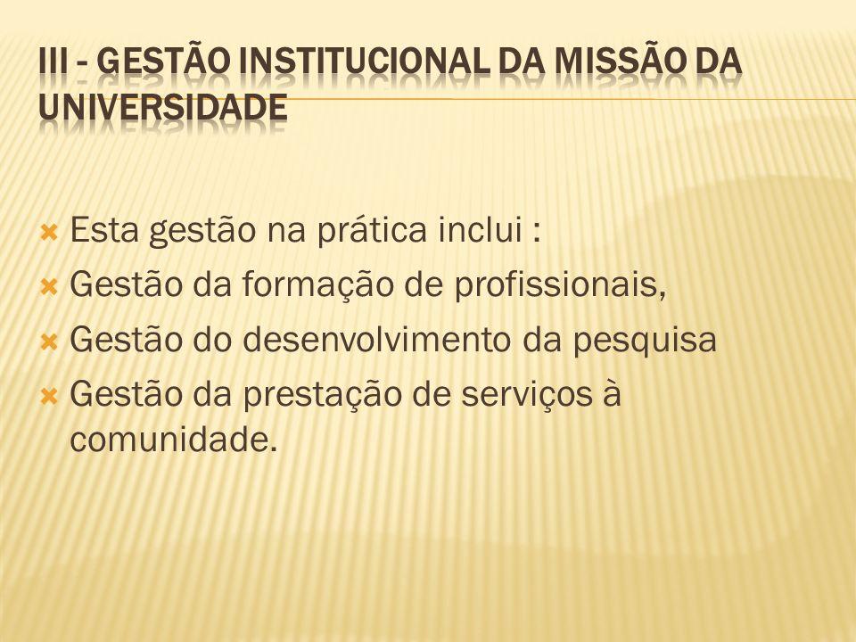III - Gestão Institucional da Missão da Universidade