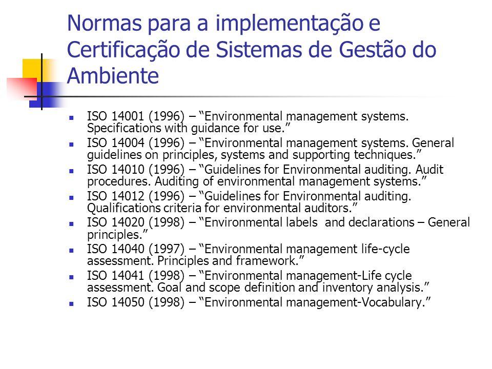 Normas para a implementação e Certificação de Sistemas de Gestão do Ambiente