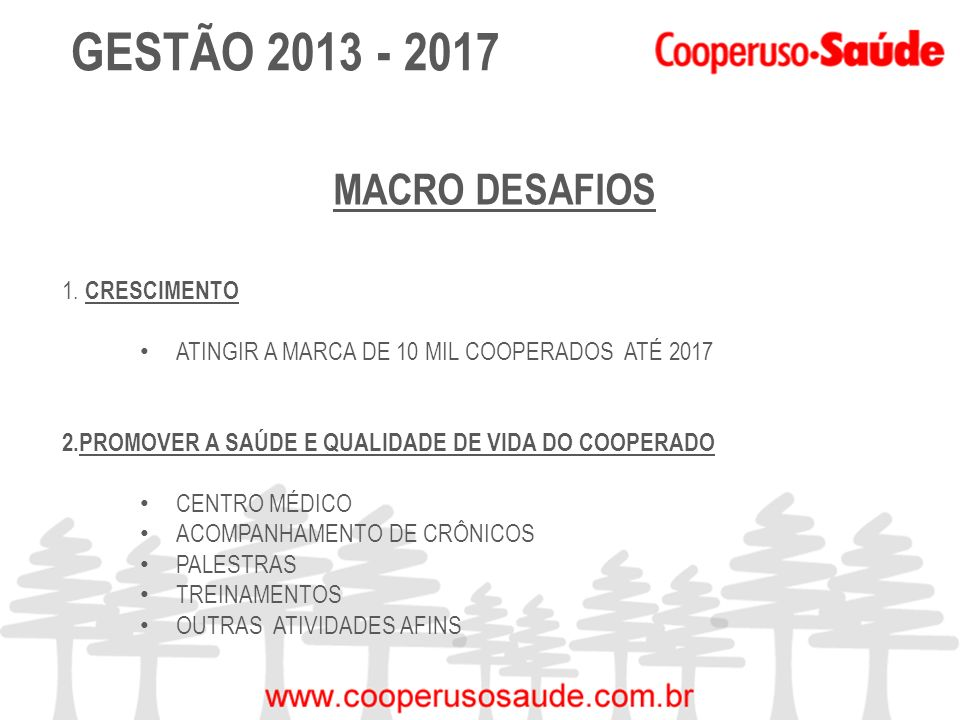 GESTÃO 2013 - 2017 MACRO DESAFIOS CRESCIMENTO