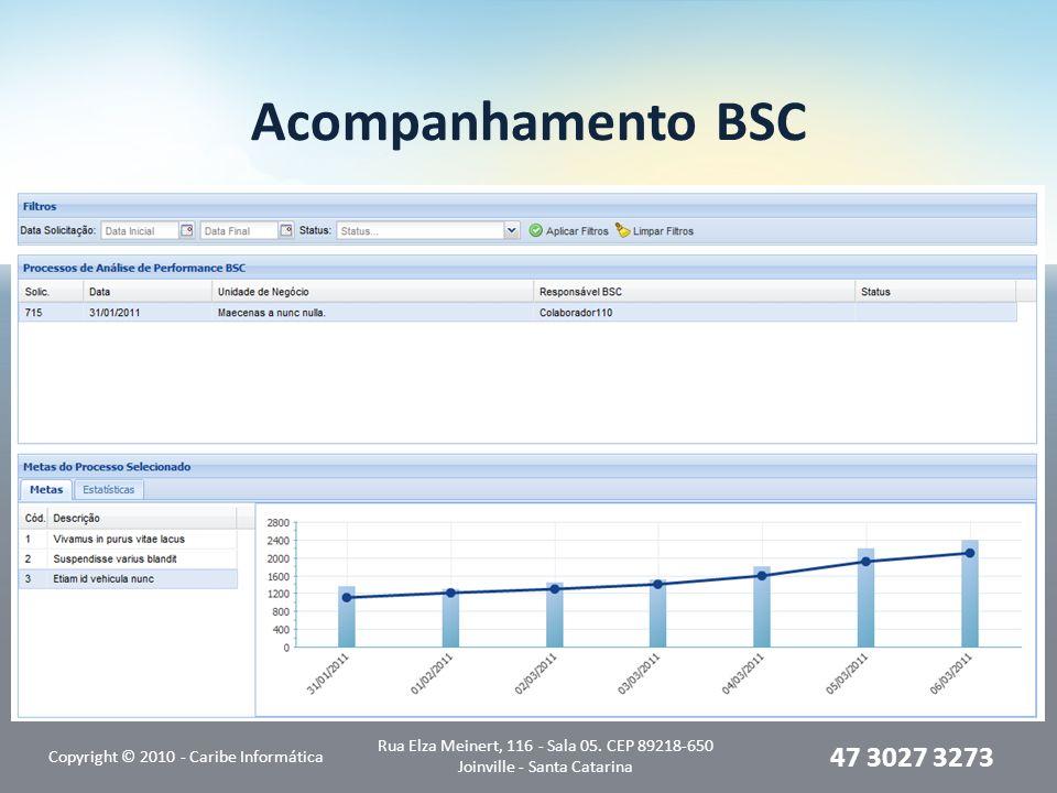 Acompanhamento BSC Copyright © 2010 - Caribe Informática. Rua Elza Meinert, 116 - Sala 05. CEP 89218-650 Joinville - Santa Catarina.
