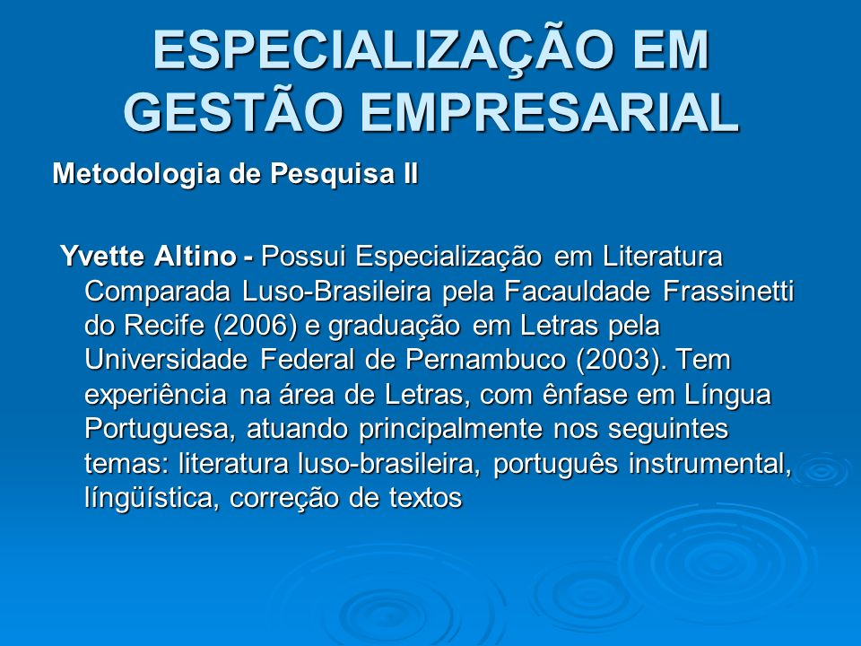 ESPECIALIZAÇÃO EM GESTÃO EMPRESARIAL